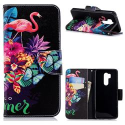 Flowers Flamingos Leather Wallet Case for LG G7 ThinQ