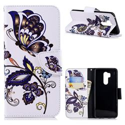 Butterflies and Flowers Leather Wallet Case for LG G7 ThinQ