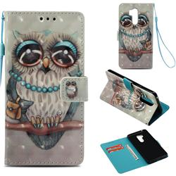 Sweet Gray Owl 3D Painted Leather Wallet Case for LG G7 ThinQ