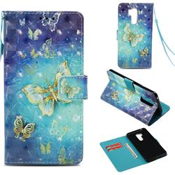 Gold Butterfly 3D Painted Leather Wallet Case for LG G7 ThinQ