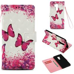 Rose Butterfly 3D Painted Leather Wallet Case for LG G7 ThinQ