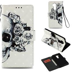 Skull Flower 3D Painted Leather Wallet Case for LG G7 ThinQ