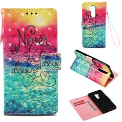 Colorful Dream Catcher 3D Painted Leather Wallet Case for LG G7 ThinQ