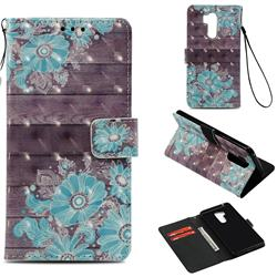 Blue Flower 3D Painted Leather Wallet Case for LG G7 ThinQ