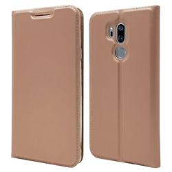 Ultra Slim Card Magnetic Automatic Suction Leather Wallet Case for LG G7 ThinQ - Rose Gold