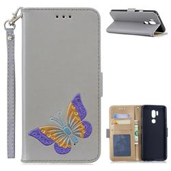 Imprint Embossing Butterfly Leather Wallet Case for LG G7 ThinQ - Grey