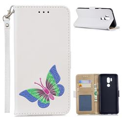 Imprint Embossing Butterfly Leather Wallet Case for LG G7 ThinQ - White