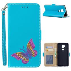 Imprint Embossing Butterfly Leather Wallet Case for LG G7 ThinQ - Sky Blue