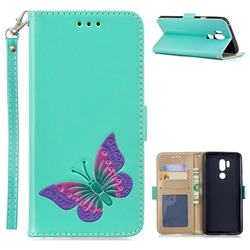 Imprint Embossing Butterfly Leather Wallet Case for LG G7 ThinQ - Mint Green