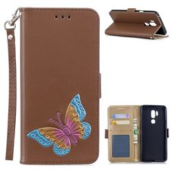 Imprint Embossing Butterfly Leather Wallet Case for LG G7 ThinQ - Brown