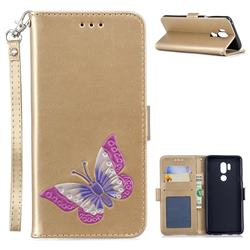 Imprint Embossing Butterfly Leather Wallet Case for LG G7 ThinQ - Golden