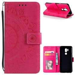Intricate Embossing Datura Leather Wallet Case for LG G7 ThinQ - Rose Red