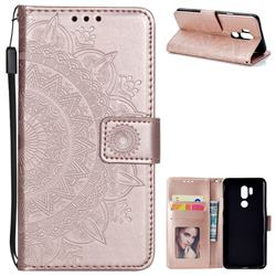 Intricate Embossing Datura Leather Wallet Case for LG G7 ThinQ - Rose Gold