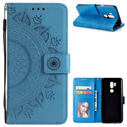 Intricate Embossing Datura Leather Wallet Case for LG G7 ThinQ - Blue