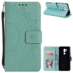 Intricate Embossing Datura Leather Wallet Case for LG G7 ThinQ - Mint Green