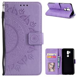 Intricate Embossing Datura Leather Wallet Case for LG G7 ThinQ - Purple