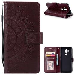 Intricate Embossing Datura Leather Wallet Case for LG G7 ThinQ - Brown