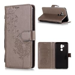 Intricate Embossing Dandelion Butterfly Leather Wallet Case for LG G7 ThinQ - Gray