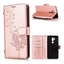 Intricate Embossing Dandelion Butterfly Leather Wallet Case for LG G7 ThinQ - Rose Gold