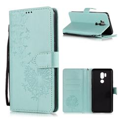 Intricate Embossing Dandelion Butterfly Leather Wallet Case for LG G7 ThinQ - Green