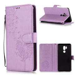 Intricate Embossing Dandelion Butterfly Leather Wallet Case for LG G7 ThinQ - Purple