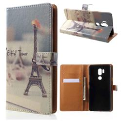 Eiffel Tower Leather Wallet Case for LG G7 ThinQ