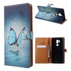 Sea Blue Butterfly Leather Wallet Case for LG G7 ThinQ