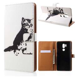 Cute Cat Leather Wallet Case for LG G7 ThinQ