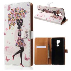 Flower Umbrella Girl Leather Wallet Case for LG G7 ThinQ