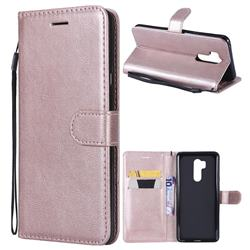Retro Greek Classic Smooth PU Leather Wallet Phone Case for LG G7 ThinQ - Rose Gold