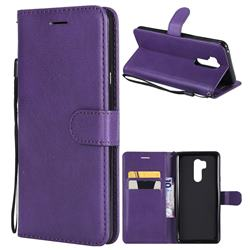 Retro Greek Classic Smooth PU Leather Wallet Phone Case for LG G7 ThinQ - Purple