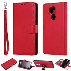 Retro Greek Detachable Magnetic PU Leather Wallet Phone Case for LG G7 ThinQ - Red