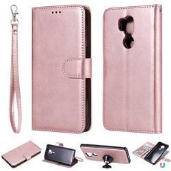 Retro Greek Detachable Magnetic PU Leather Wallet Phone Case for LG G7 ThinQ - Rose Gold
