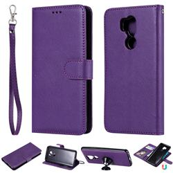 Retro Greek Detachable Magnetic PU Leather Wallet Phone Case for LG G7 ThinQ - Purple