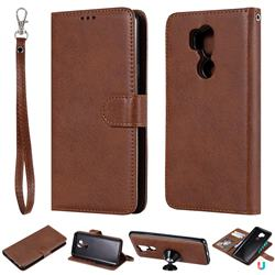 Retro Greek Detachable Magnetic PU Leather Wallet Phone Case for LG G7 ThinQ - Brown