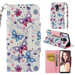 Colored Butterfly Big Metal Buckle PU Leather Wallet Phone Case for LG G7 ThinQ