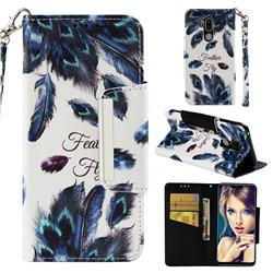 Peacock Feather Big Metal Buckle PU Leather Wallet Phone Case for LG G7 ThinQ