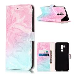 Pink Green Marble PU Leather Wallet Case for LG G7 ThinQ