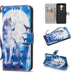 Ice Wolf 3D Painted Leather Wallet Phone Case for LG G7 ThinQ
