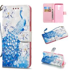 Blue Peacock 3D Painted Leather Wallet Phone Case for LG G7 ThinQ