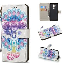 Colorful Elephant 3D Painted Leather Wallet Phone Case for LG G7 ThinQ