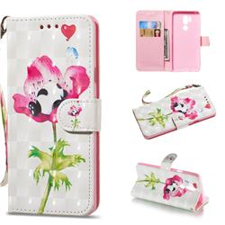 Flower Panda 3D Painted Leather Wallet Phone Case for LG G7 ThinQ