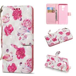 Flamingo 3D Painted Leather Wallet Phone Case for LG G7 ThinQ