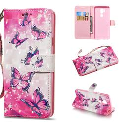 Pink Butterfly 3D Painted Leather Wallet Phone Case for LG G7 ThinQ