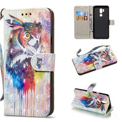 Watercolor Owl 3D Painted Leather Wallet Phone Case for LG G7 ThinQ