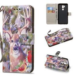 Elk Deer 3D Painted Leather Wallet Phone Case for LG G7 ThinQ
