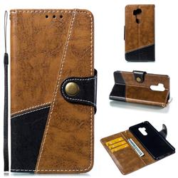 Retro Magnetic Stitching Wallet Flip Cover for LG G7 ThinQ - Brown