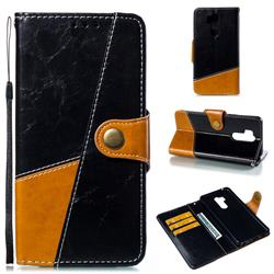 Retro Magnetic Stitching Wallet Flip Cover for LG G7 ThinQ - Black