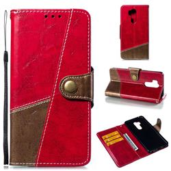 Retro Magnetic Stitching Wallet Flip Cover for LG G7 ThinQ - Rose Red