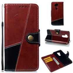 Retro Magnetic Stitching Wallet Flip Cover for LG G7 ThinQ - Dark Red
